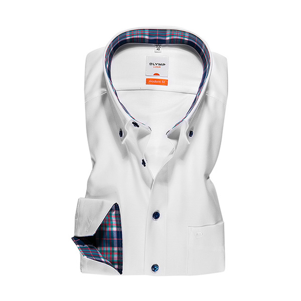 Overhemd Modern Fit - Button Down - Wit 1334