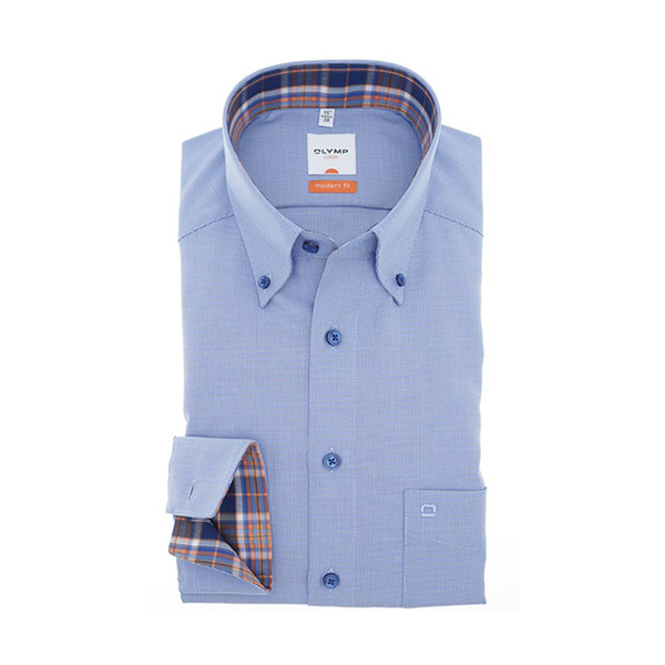 Overhemd Modern Fit - Button Down - Royal 1334