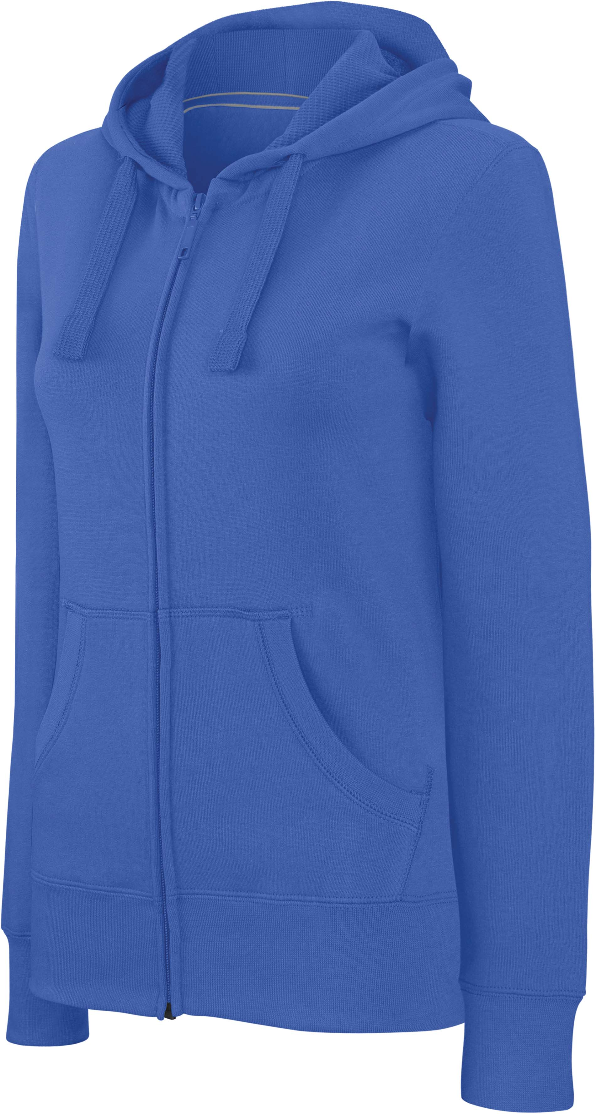 Damessweater met rits en capuchon light royal blue s